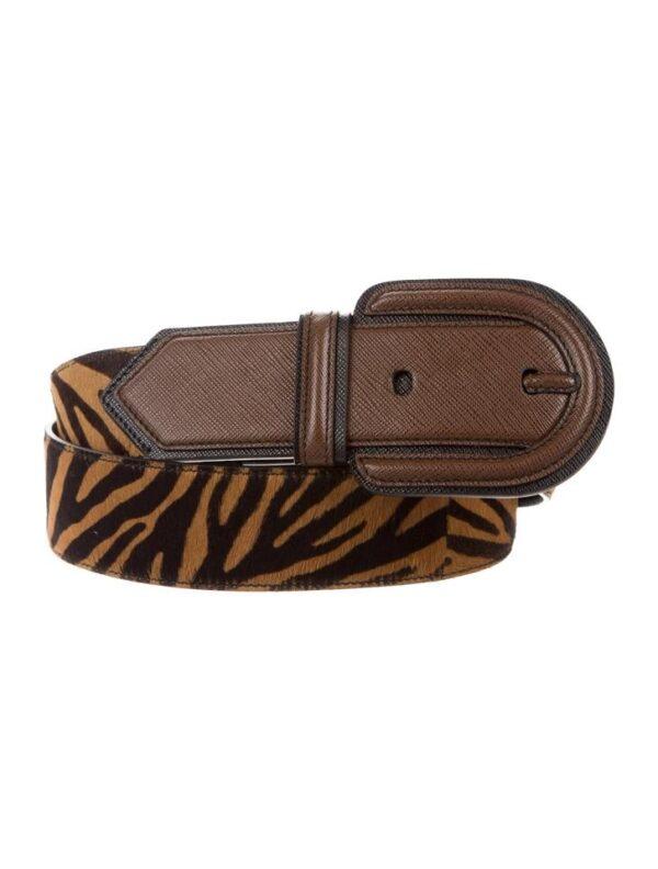 prada miele moro z leather tiger striped belt 0 0 960 960 2