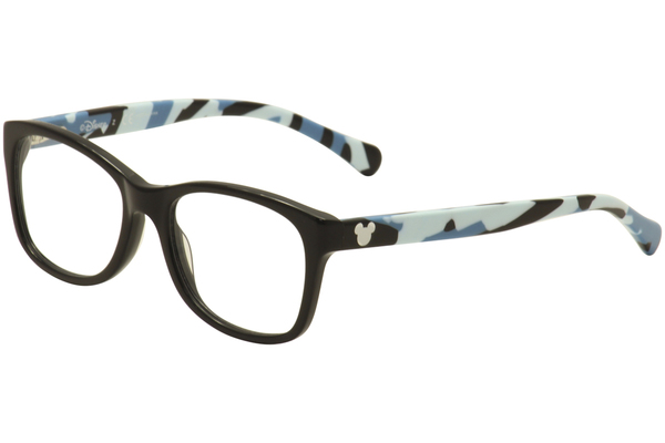 disney kids youth girls eyeglasses 3e2003 3e 2003 full rim optical frame black blue camo 1434 1 lg